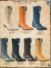Skin Tail Mens Western 3X-Toe caiman Boots ~ World Best Alligator Cowboy DiffColors/Sizes Boots