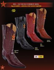 Los Altos Mens 3X Toe Genuine Eel w/ Cowboy Heel Western Boots Diff Colors
