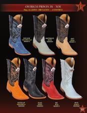 Altos Mens 3X-Toe Ostrich Print Cowboy Western Boot ~ botines para