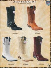Genuine Ostrich Leg Mens Cowboy Western Boots DiffColor/Size