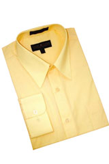Canary Yellow Cotton Blend Dress Shirt With Convertible Cuffs