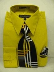 Gold~Yellow~Mustard Dress Shirt Tie Set