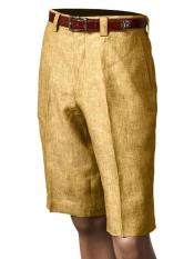 Mens Pleated 100% Linen Summer Flat Front Shorts