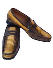 Yellow ~ Gold ~ Mustard ~ Bronze ~ Camel  Python Skin Slip-On Style Casual Dress Loafer