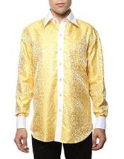 Shiny Satin Yellow-White Floral Spread Collar Paisley Dress Shirt Flashy Stage