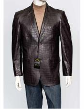 Zacchi Mens Italian Cut  Mens Alligator Jacket Print Genuine Leather Feel