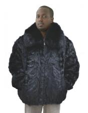Fur Genuine Mink Pull Up Zipper Black Fox Collar Jacket