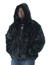 Fur Genuine Mink Pull Up Zipper Black Jacket