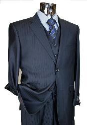 SKU#KA6520 Men's Navy Tone on Tone 3pc 2 Button single pleated pantsr three piece suit