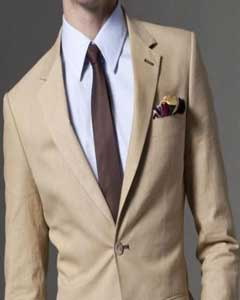 SKU#KA1333 Mens & Boys Sizes Mens Taupe Linen Suit 100% Linen 2-Button