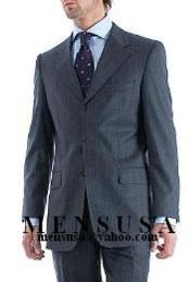 SKU GJR235 Charcoal Gray Pinstripe Super 150s Wool Mens Suit Side Vent