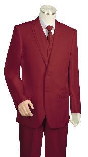 Wine Three Button Suit