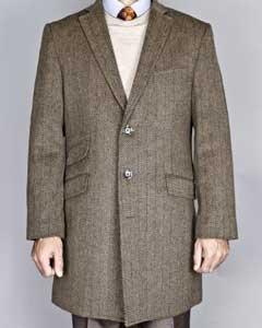 Taupe Herringbone Tweed Wool
