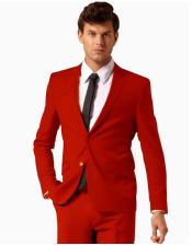 Colorful 2 Button Style Suit Pants Red ( Regular Cut or