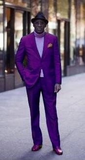 SKU#PRL672 Classic Ultra Smooth 2 Button Suit Purple