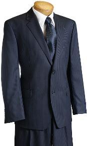 Navy Pinstripe Wool Italian