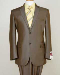 SKU#BWN0124 Shiny Satin shiny Metallic Bright Sharkskin 2 Button Style Light Brown Taupe