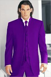 Tuxedo Mandarin Collar Purple