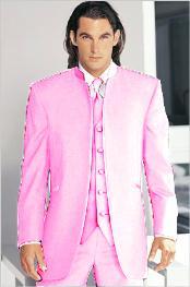 Tuxedo Mandarin Collar Pink