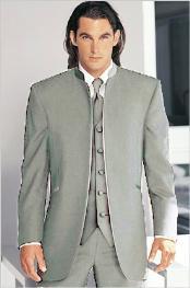 Tuxedo Mandarin Collar Silver