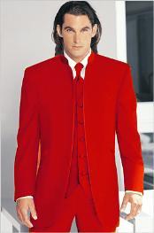 Tuxedo Mandarin Collar Red