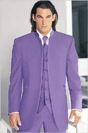 Tuxedo Mandarin Collar Lavender