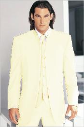 Tuxedo Mandarin Collar Cream