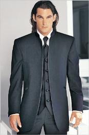 Tuxedo Mandarin Collar Charcoal
