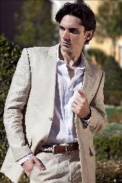 SKU#ESW13 Men's 100% Fine Linen Suit in Beige(Natural) Mens & Boys Sizes