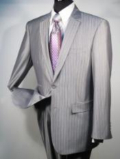 Button Business Suit Silver