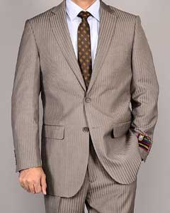 SKU#ASD31 Mens Side Vented Jacket & Flat Front Pants Taupe Stripe ~ Pinstripe 2-Button Suit