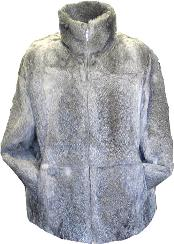 Rabbit Fur Coat Gray