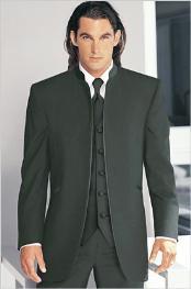 Tuxedo Mandarin Collar Dark