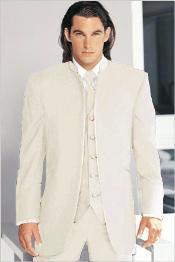 Tuxedo Mandarin Collar Ivory