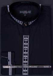SKU#FBV88 Men's Banded Collar Clergy dress shirts without collars Mandarin Collarless - Cross Embroidery Black $49