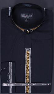 SKU#JNC57 Men's Banded Collar Embroidered dress shirts Mandarin Collarless - Fancy Stitching Black $49