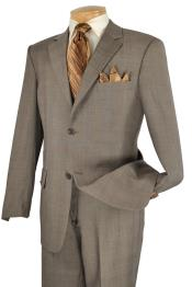 SKU#TUP92 Executive 2 Piece 2 Button Suit Taupe