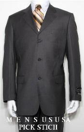 SKU ZP3 Detail Pick Stich Laple Charcoal Gray Dark 3 Buttons Mens 100 Wool Super 150s Worsted Light