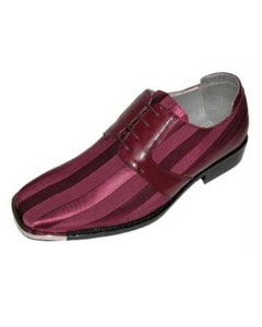 Mens Burgundy ~ Maroon ~ Wine Color Classic Oxford Striped Satin Dress Shoe with Silver Tip
