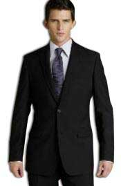 $795 Notch Lapel Side Vented 100% Solid Black Wool 2 Button