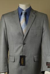 SKU#J6F5 Men's 2 Button patterned Mini Weave Patterned Shiny Sharkskin Suit Gray