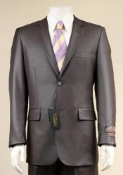 SKU#H99T Men's 2 Button patterned Mini Weave Patterned Shiny Sharkskin Charcoal Suit