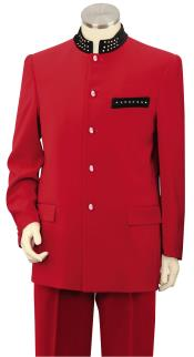 SKU#RE3X Men's 2 Piece Microfiber Fashion Suit - Nehru Style with Sparkling Accents Red $199