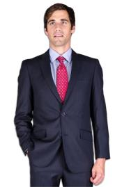 Slim Fit Dark Navy Blue Suit For Men Stripe ~ Pinstripe 2-Button Suit