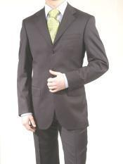 SKU EEC317 Made in ITALY Mens English Charcoal Gray Suit Super 150s WoolCashmere Suit 3 Button Flat Front