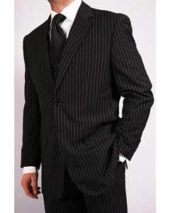3-Piece Black Pinstripe Vested
