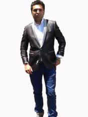 Cheap Priced Unique Fashion Designer Mens Dress blazers Sale Vented Black Jacket with Silver