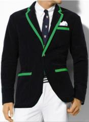 Classic Velvet Black Blazer with Green Trimming Tuxedo Formal Looking