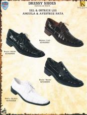 SKU#W2C3 Wild West Genuine Eel/Ostrich Leg Dressy Exotic Shoes Diff. Colors/Sizes Black/Brown/White