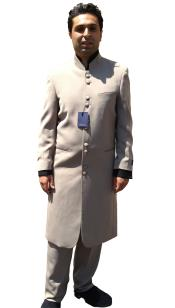 SKU#7SSS 10 Button clergy robes Mandarin Collar Maxi Suit Taupe~Sale~Mocca